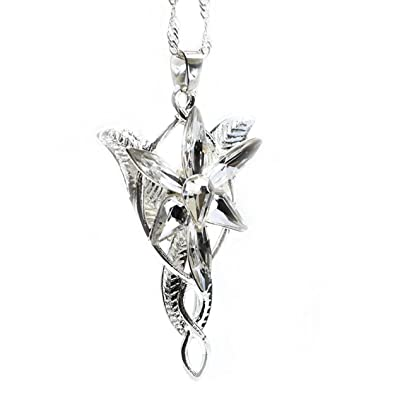 LOTR Lord Of The Rings Hobbit Arwen EVENSTAR Silver Tone Necklace Crystal Pendant Prop Replica in Blue Gift Box J103MS