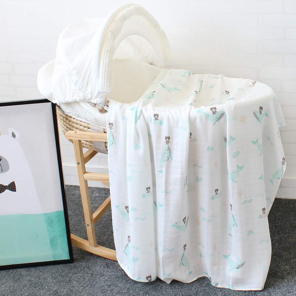 Dise/ño de Ballena /& Oso Bamb/ú Algodon Muselinas 120x120 cm Mantitas para Bebes Lebze Beb/é Muselina Swaddle Manta