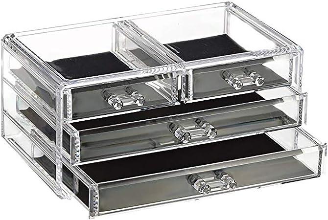 Hogar y Mas Joyero Organizador Transparente de Metacrilato, 4 Cajones, Caja Almacenaje, Diseño Original/Elegante 23,8x10,8x15,3 cm: Amazon.es: Hogar