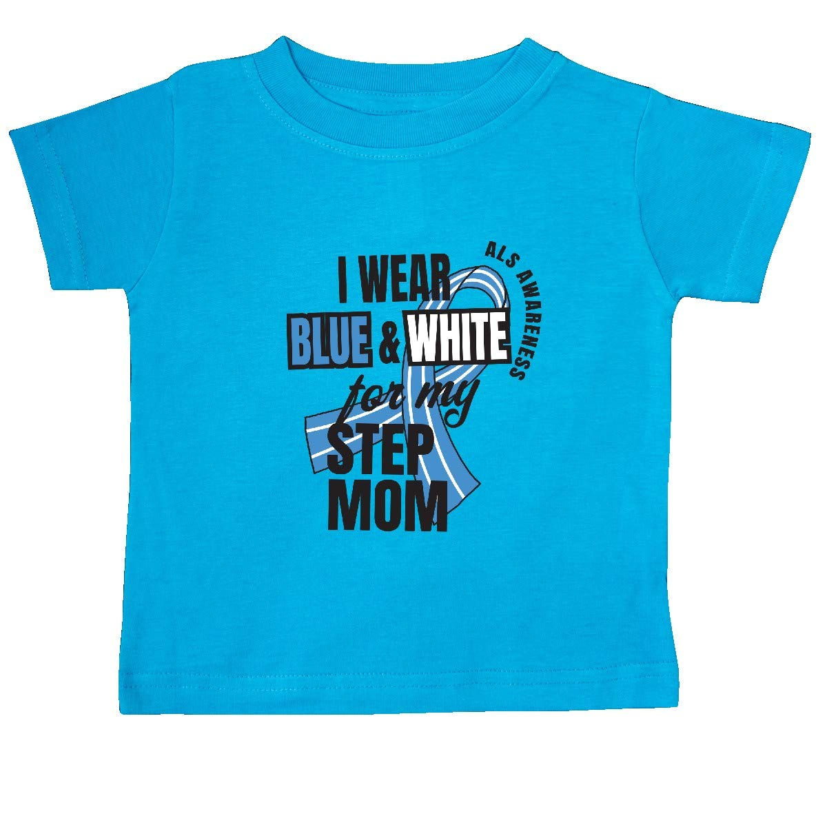 inktastic I Wear Blue and White for My Step Mom ALS Awareness Baby T-Shirt