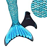 Fin Fun Mermaid Tail, Reinforced Tips, Monofin, Tidal Teal, Size Child 8