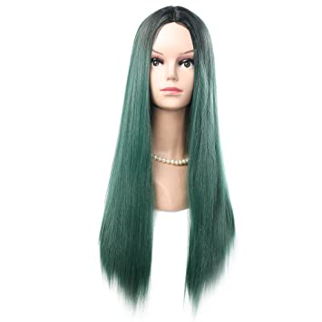 Eastlion Women s Long Straight Wig Gradient Fancy Dress Wig Synthetic Full  Wig Straight Hair Wig Hair d8c2db4483