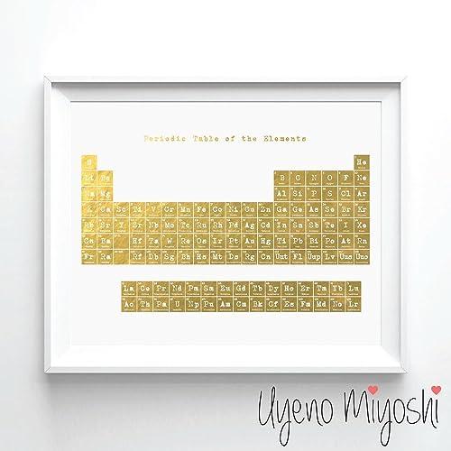 Amazon.com: Periodic Table Gold Foil Art Print Periodic Table of the ...