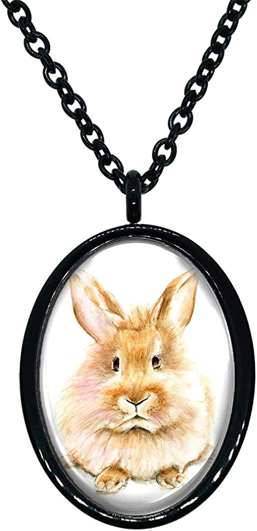 My Altar Bunny Rabbit Black Stainless Steel Pendant Necklace