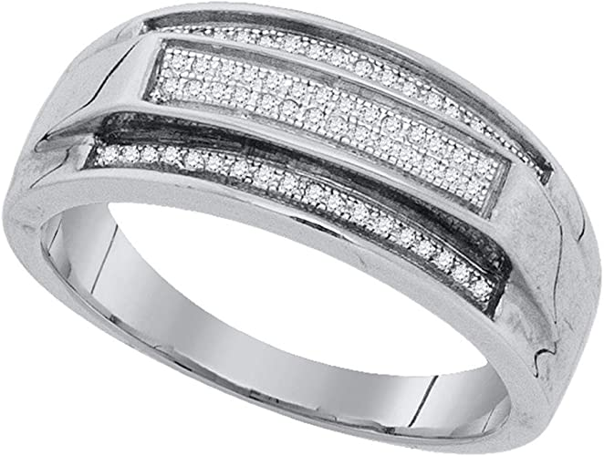 Jewels By Lux Sterling Silver Diamond /& Onyx Mens Ring