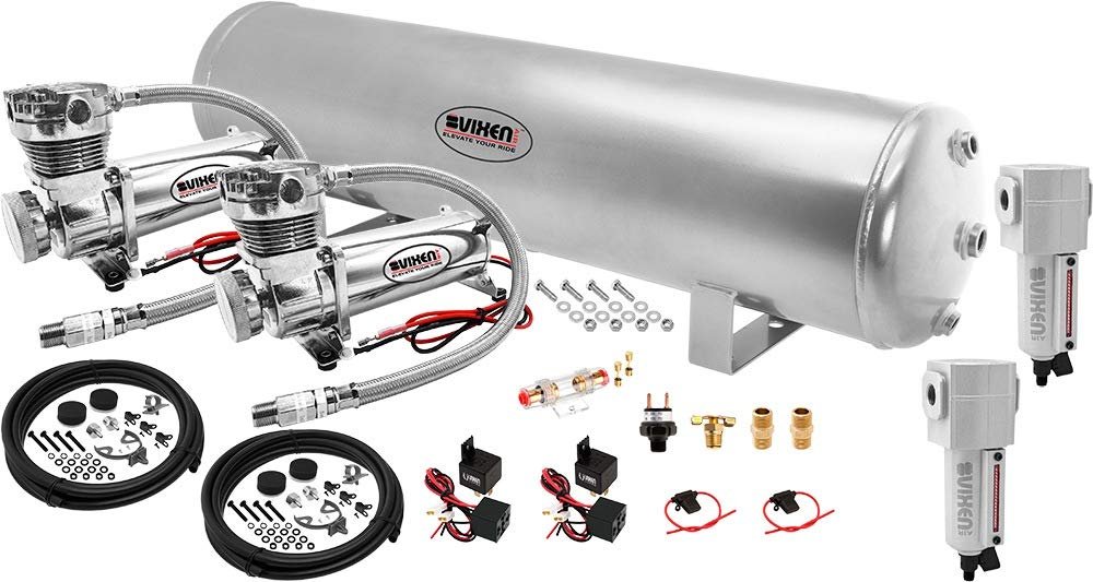 Vixen Air 5 Gallon (18 Liter) Silver Steel Tank with Dual 200 PSI Chrome Compressor and Water Traps Onboard System/Kit for Suspension/Train Horn 12V VXO4852GDCF