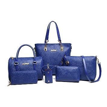 DEERWORD Para mujer Carteras de mano Bolsos bandolera Bolsos bolera Bolsos maletín Cuero 3pcs Set Azul: Amazon.es: Equipaje