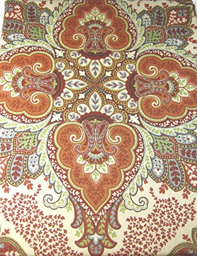 Tahari Home Baroque Medallion Tablecloths Assorted Sizes Oblong and Round Multi Color on Cream (70 Round)