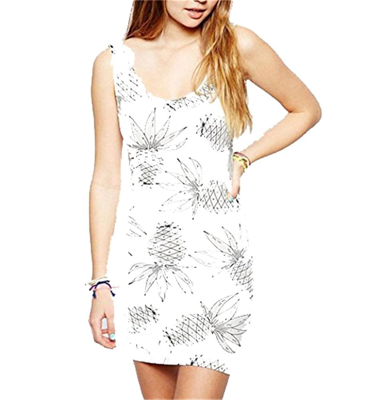 Black Fruit Patterns White Stretchy Bodycon Basic Bandage Short Mini Dress