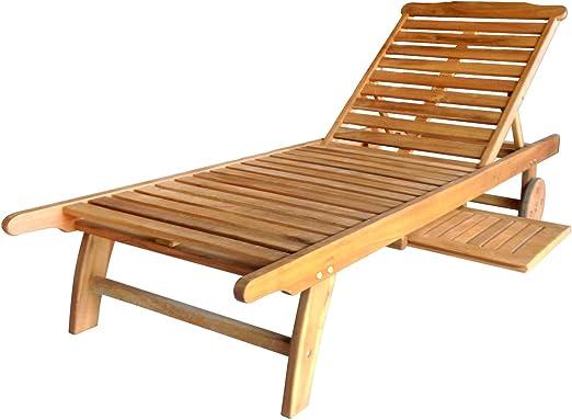 Tumbona reclinable de madera de balau para jardín y terraza: Amazon.es: Jardín