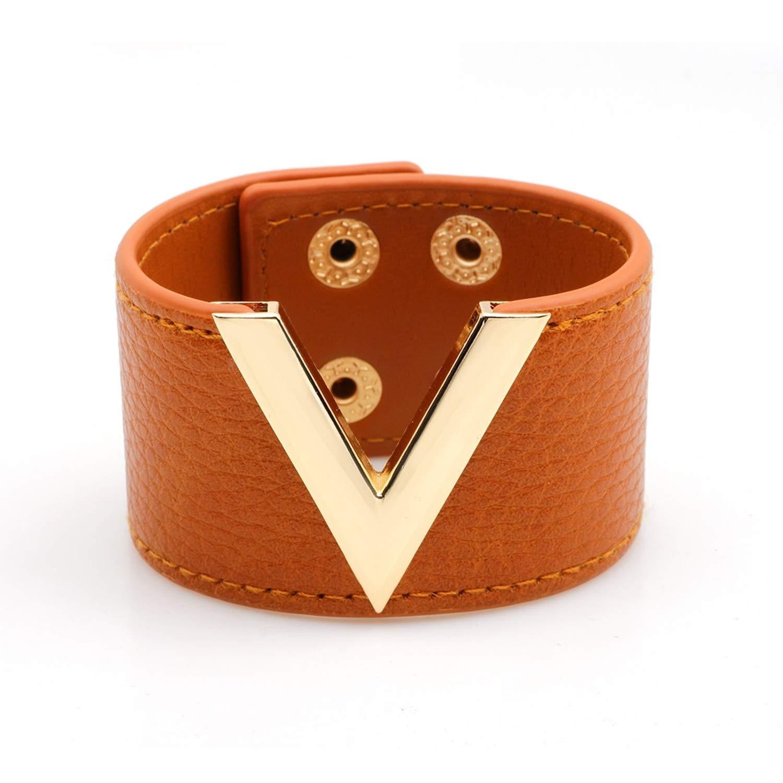 Designer Inspired Wide Cuff Leather Wrap Bracelet V Shape 21cm 8 inch Length