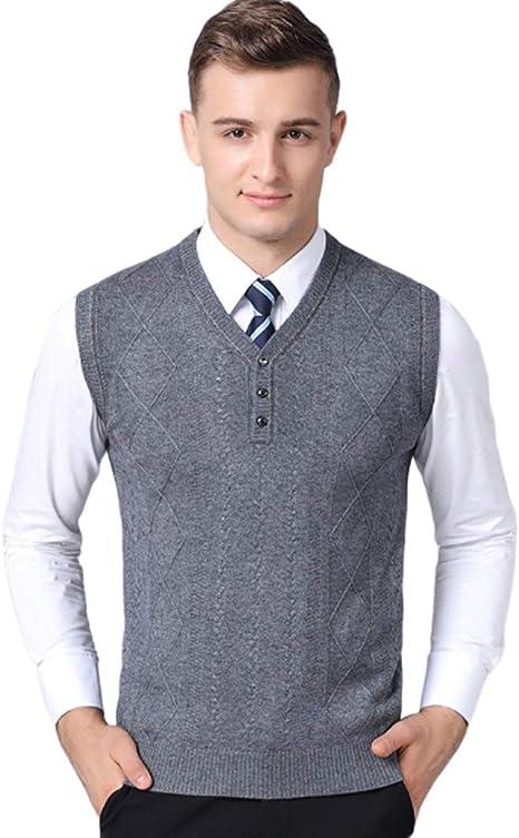 QJKai Chaleco suéter sin Mangas con Cuello en V for Hombre ...