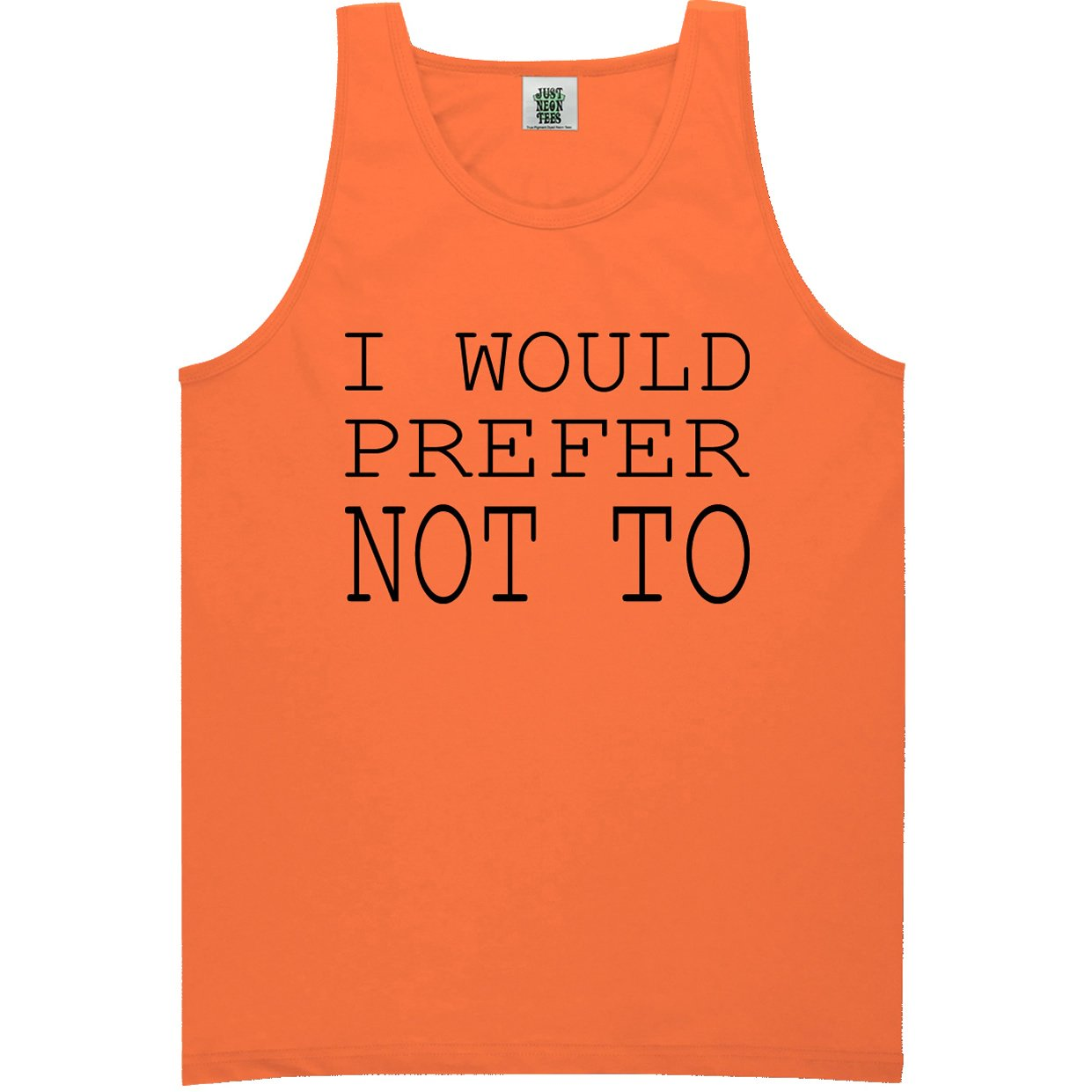 Youth I Would Prefer Not to Bright Neon Tank Top 6 Bright Colors