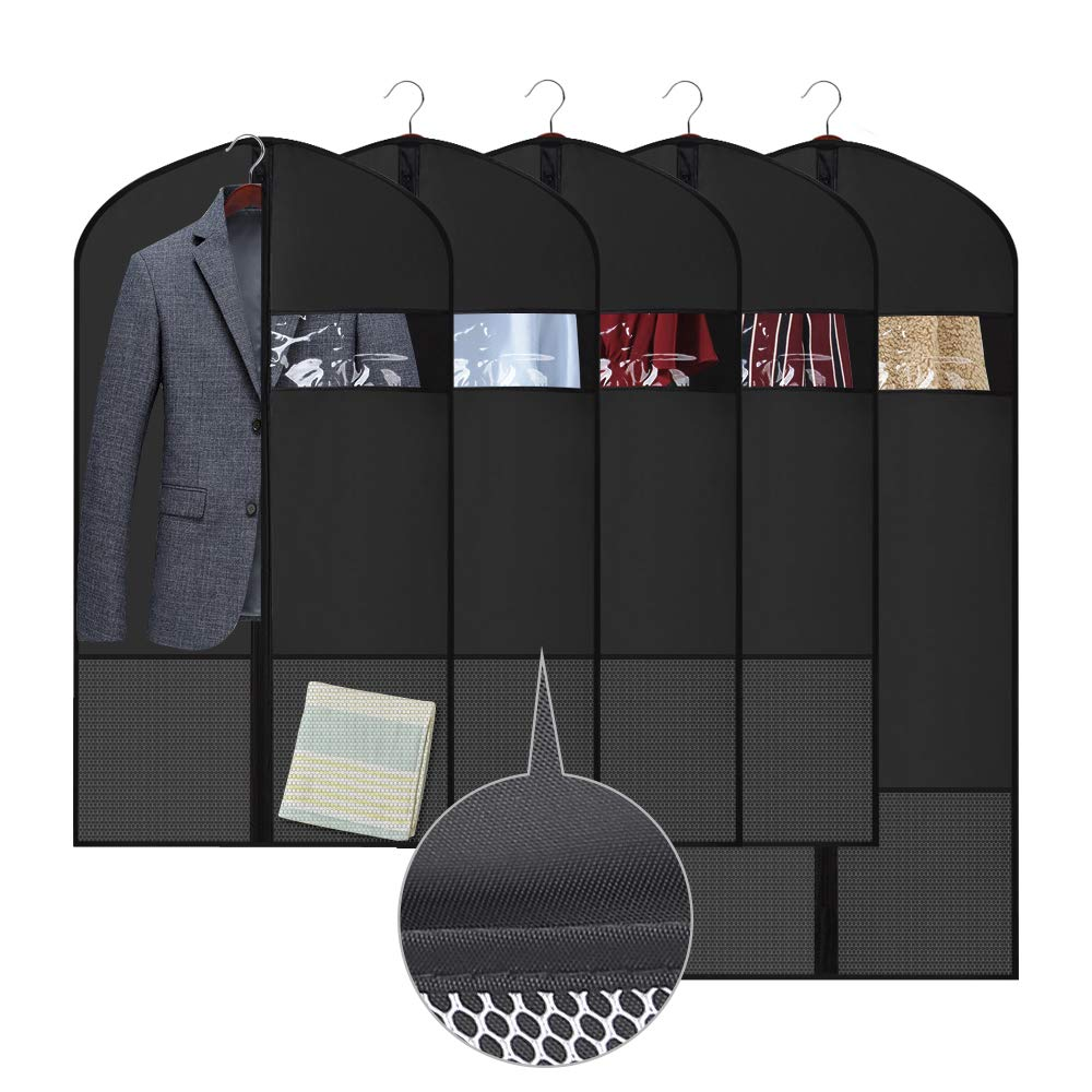 Etmury Garment Bags for Clothing Closet Storage, Breathable Dustproof Durable Oxford Fabric with Zipper Suits Dresses Clothes Cover, Clear Window and Pockets for Travel Storage (Black)