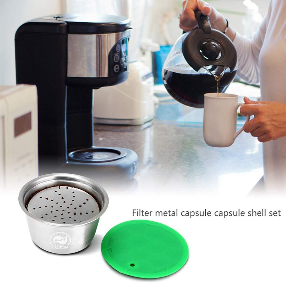 Pawaca Cápsulas Recargables para Dolce Gusto, Café Capsula Reutilizable para Nescafe Dolce Gusto Acero Inoxidable with 1 Pincel, 1 Cuchara, ...