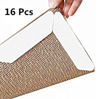 ZJlncpz Anti-slip Rug Grips Keeps Your Rug in Place Makes Corners Flat Area Rugs Pad Double Sided Tape Strong Stickiness without Hurting Hard Floors Pack 16 White