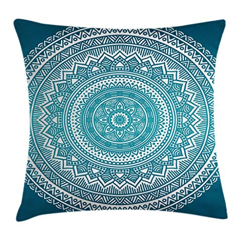 Ambesonne Turquoise Ombre Throw Pillow Cushion Cover, Mandala Medallion Starry Design with Flower in Middle Ethnic Ethnic Art, Decorative Square Accent Pillow Case, 18 X 18 Inches, Dark Turquoise