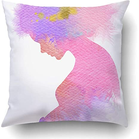 AHENANY Throw Pillow Covers Double Exposure of Pregnant ...