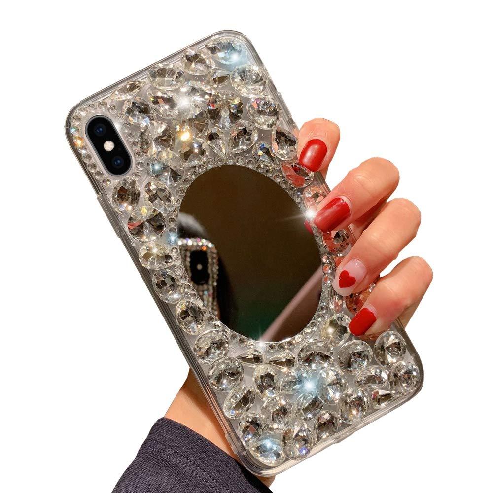 Glitter Miroir Coque pour Huawei P30 Obesky Luxe Bling Diamant Strass Ultra Mince Souple Silicone TPU Argent Dur PC Arri/ère Housse Etui de Protection pour Huawei P30