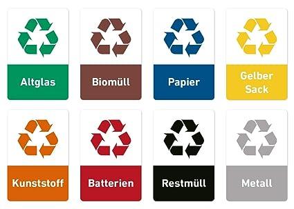 Recycling Aufkleber Set Müll Abfall Sticker 8 Motive 5 X 75 Cm