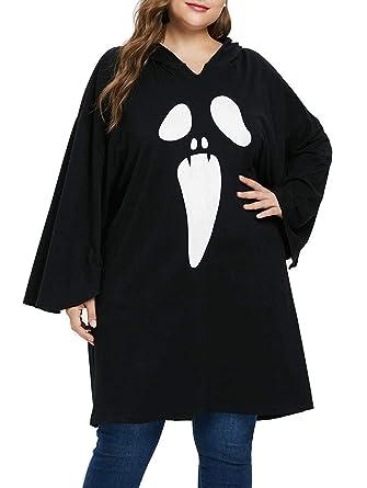 0ad248030fc Amazon.com  KENANCY Women Plus Size Halloween Costume Batwing Spider Web  Hoodie Sweatshirt Dress  Clothing