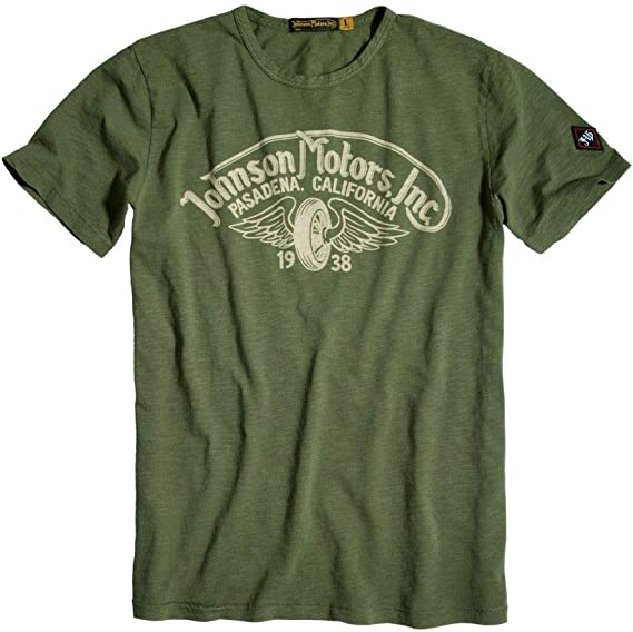 Amazon.com: Johnson Motors T Shirt Winged Wheel: Clothing
