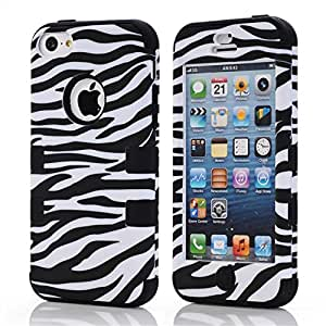 IVY Black - Luxury Cute Fashion 3in1 Zebra Graphics (Soft & Hard) Case Cover Skin For Apple Iphone 5C