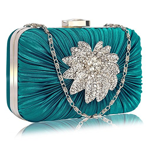 LeahWard? Women's Fashion Clutch Bag Wedding Evening Bags For Party Bridal School Prom CW006 Teal