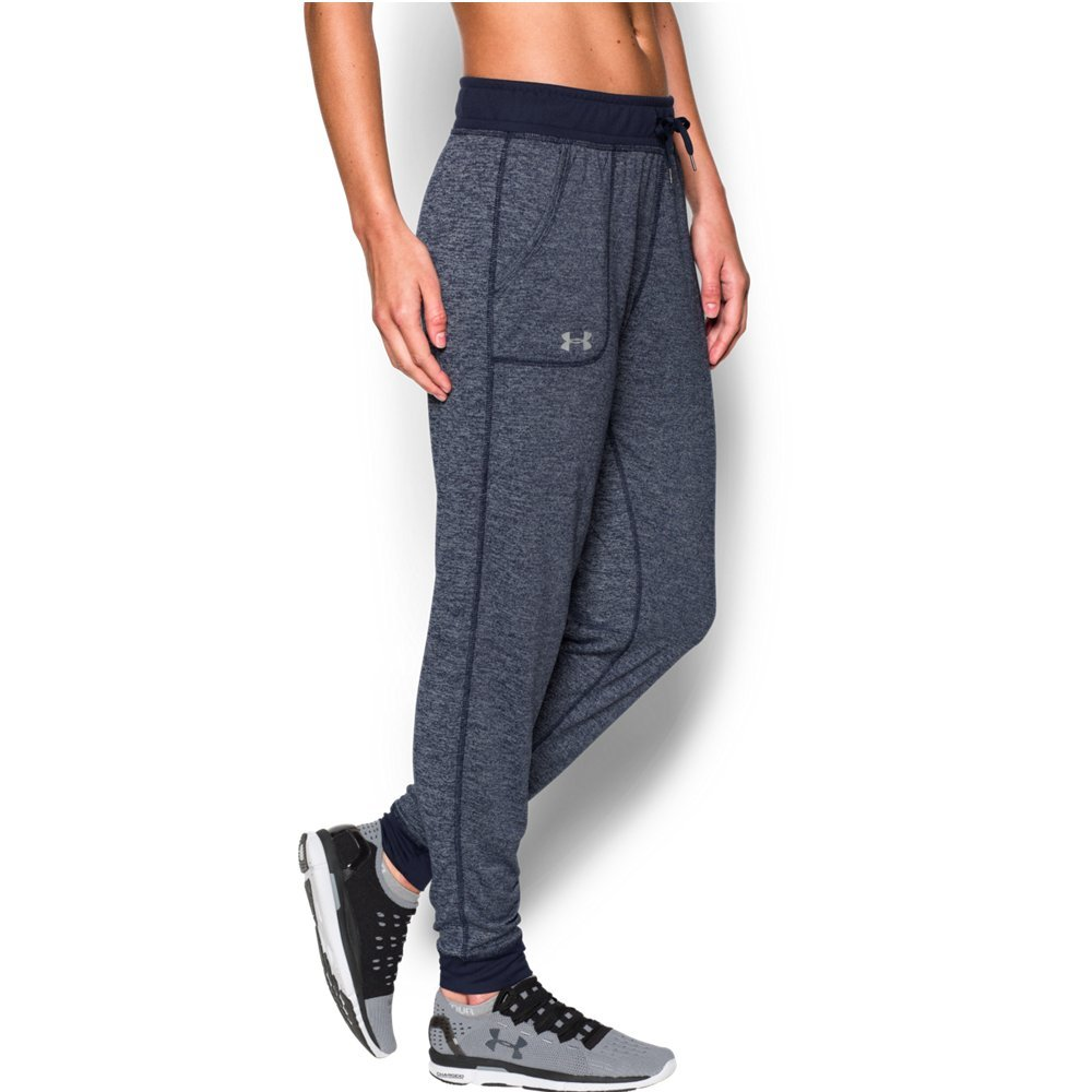 Under Armour Women's Twisted Tech Pants, Midnight Navy/Metallic Silver, X-Small