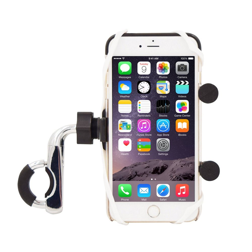 Meetou Motorcycle USB Handlebar Mount Universal Phone Holder K-Style Motorbike Cell Phone Mount with USB Charger for iPhone, Samsung, GPS