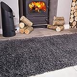 Ontario Grey Fireside Fireplace Mantelpiece Hearth Shaggy Shag Fluffy Living Room Area Rug