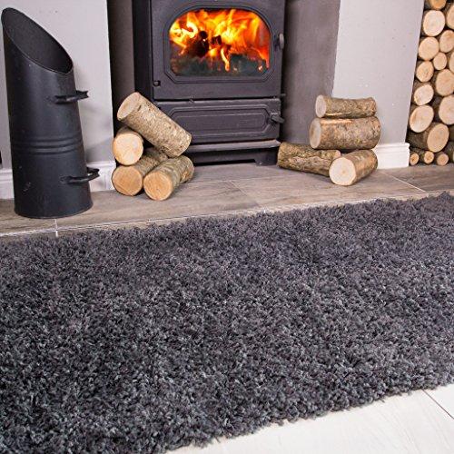 Ontario Grey Fireside Fireplace Mantelpiece Hearth Shaggy Shag Fluffy Living Room Area Rug (Carpet Fireplace)