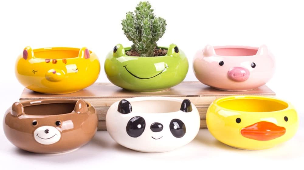 Corasays 6 In set 3.5 Inch Ceramic Animal Shape Pots Sucuulent Cactus Plant Pot Flower Pot Container Planter Panda Bear Frog Duck Tiger Pig with A Hole
