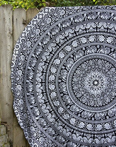 Black and White Round Beach Towel Elephant Mandala Round TableCloth Roundie Beach Throw Indian Mandala Tapestry Hippie Yoga Mat Picnic Mat Beach Throw Table Throw