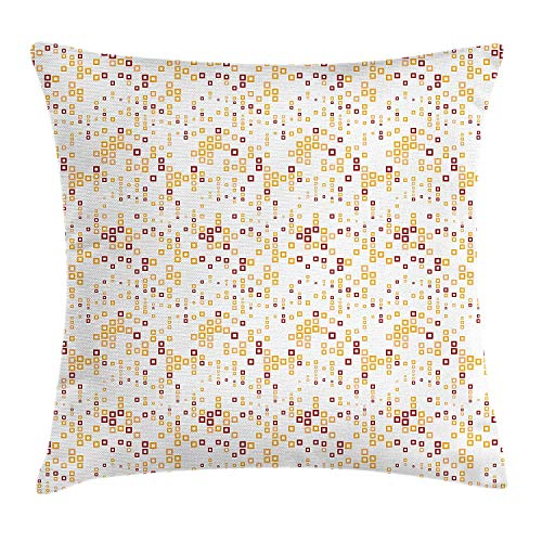 Yingzsal Abstract Throw Pillow Cushion Cover, Contemporary Style Trippy Computer Art Featured Geometric Textured Print, Decorative Square Accent Pillow Case, 24 X 24 Inches, Marigold Ruby White