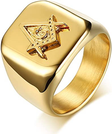 MPRAINBOW 316L Stainless Steel Masonic Ring for Men Master Masonic Signet Ring Mason Ring Jewelry,Gold
