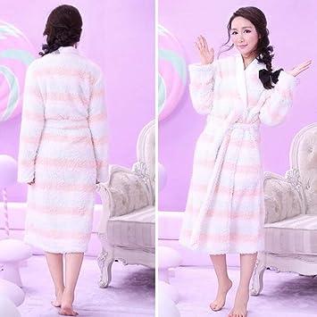 XQY Pijamas cómodos para el hogar Tienda de algodón con Bolsillos Albornoz - Ms Espeso camisón