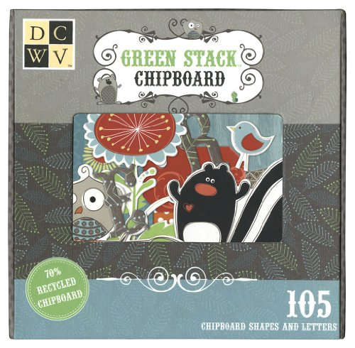 Diecuts With A View Green Woodland Box Of Chipboard Big