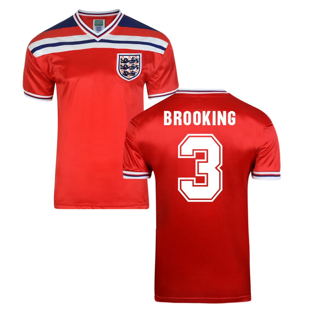 Score Draw England World Cup 1982 Away Shirt (Trevor Brooking 3) B01GH6WVK2 Small Adults|Red Red Small Adults
