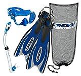 Cressi Frog Plus Fins with Frameless Mask Dry Snorkel Set, BL-XS