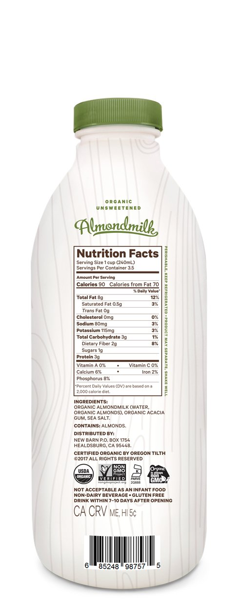 New Barn Organic Almondmilk Unsweetened 28 Oz Amazon Grocery Gourmet Food