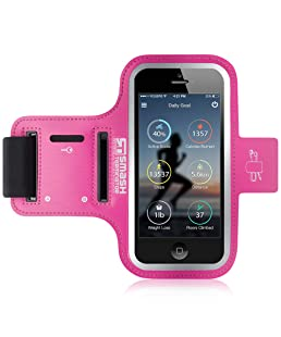 """Phone Holder For Running - Universal Jogging Armband For Smartphones/MP3 Players Up To 4.0"""" - Sweat Resistant Sports Strap with Key/Card/Earphone Cable Holders (iPhone 5 5s 5c / Touch, Pink)"""