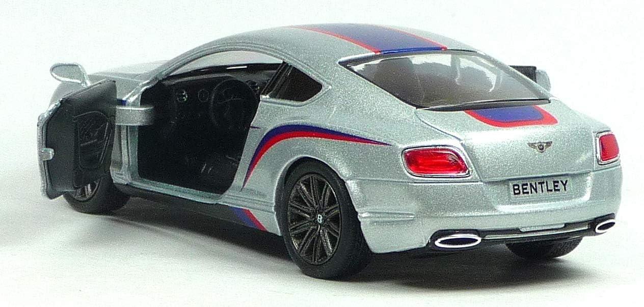 Kinsmart Bentley Continental GT Speed Rally 2012 Met/álico Coche Plata Color 1:38 Escala Puertas de Metal Fundido a presi/ón Apertura Retroceso Go Superpower 13cm