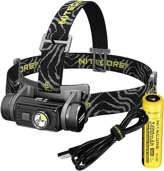 Nitecore HC60 - Linterna Frontal LED Recargable (1000 lúmenes, 3400 mAh, Incluye adaptadores LumenTac, Cable de Carga USB)