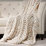 Ethan Allen Cross Cable Knit Throw, Ivory
