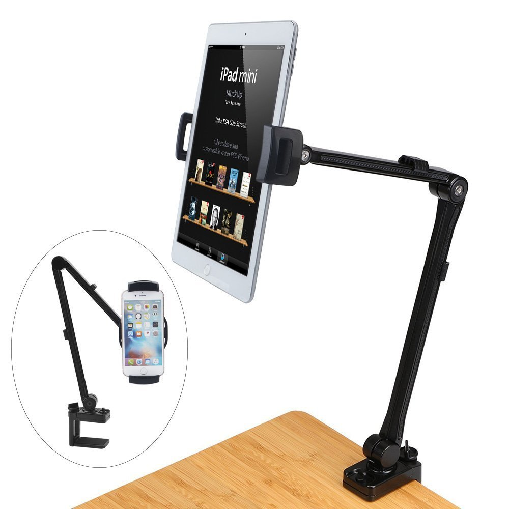 Tablet Stand/Cellphone Holder, MAYOGA Metal Bolt Clamp Desk Mount Lazy Bracket 360° Rotating Hands-Free Adjustable Compatible with iPhone X/8/7/6S Plus, iPad Mini/Air/Pro, Galaxy S8/7/6, 4-12'' Device