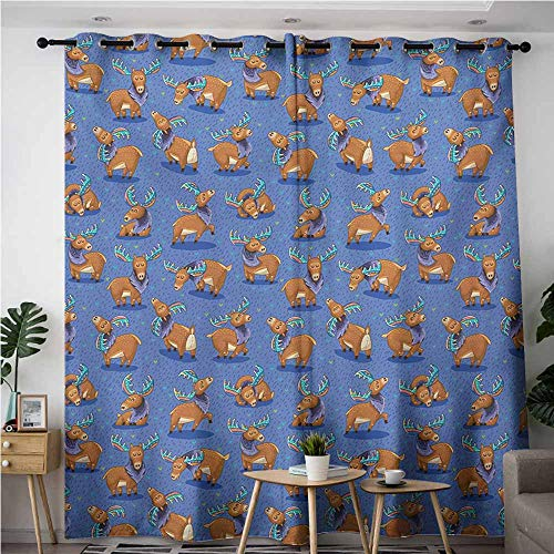 AndyTours Grommet Window Curtains,Moose,Hand Drawn Style Funny Cartoon Characters Elks with Rainbow Antlers Friendly Mammals,Grommet Curtains for Bedroom,W108x108L,Multicolor