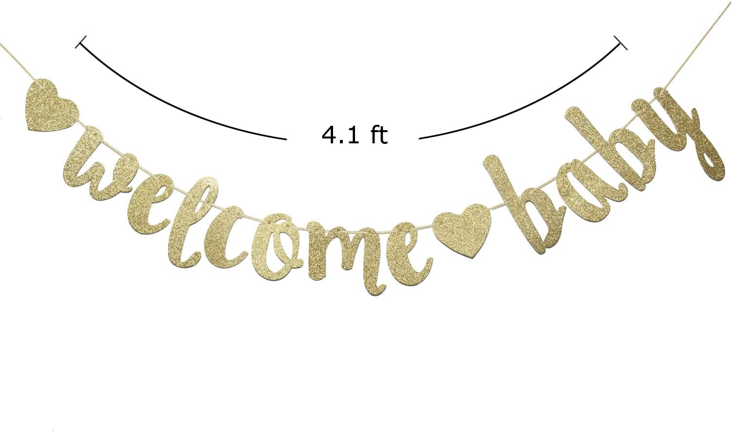 Rose Gold Glitter Boy or Girl Banner for Baby Shower Gender Reveal Bunting New Born Celebration Party Decoration Supplies Gold Glitter