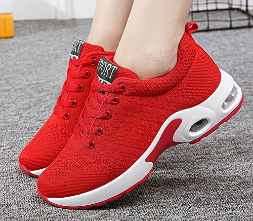 No.66 Donna Uomo Cuscino Daria Flyknit Scarpe Da Corsa Paio Sneakers Rosse