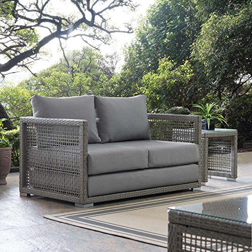 Outdoor Rattan Loveseat - Modway EEI-2924-GRY-GRY Aura Outdoor Patio Wicker Rattan Loveseat, Gray Gray